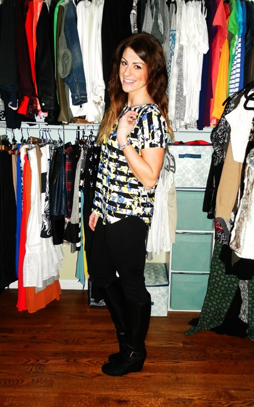 peter pilotto for target blouse, jcrew minnie pant, sole society black boots