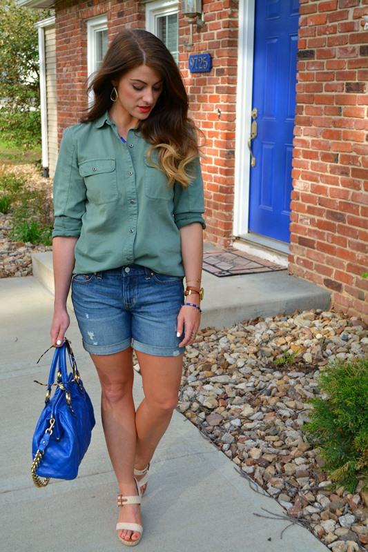 madewell work shirt, gap boyfriend shorts, rope wedges, marc jacobs stam