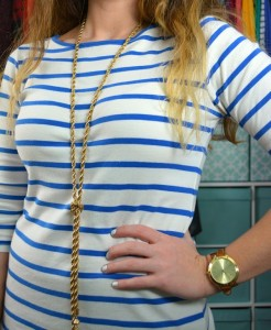blue striped tee, baublebar iced lariat tassel necklace, michael kors watch