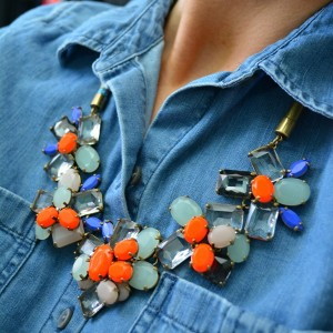 jcrew cords, vince camuto booties, chambray, jcrew stone necklace