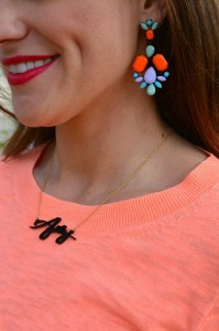neon earrings, bauble bar signature necklace