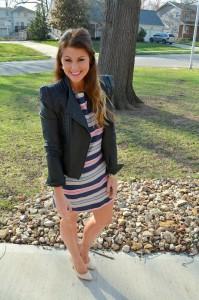 pastel striped dress, asos strong shoulder leather jacket, nude pumps
