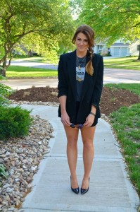 ashley from lsr, the home tee, black silk shorts, patent pumps, boyfriend blazer