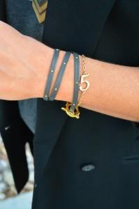 ashley from lsr, gorjana wrap bracelet, number bracelet