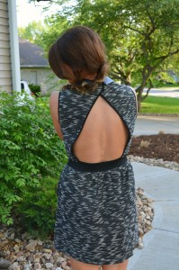mixed media dress, open back dress, ashley from le stylo rouge