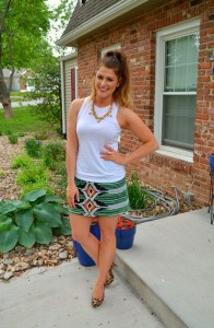 ashley from lsr, willow & clay mini skirt, asos tank, baublebar necklace, courtney loves gorjana cuff, leopard pumps