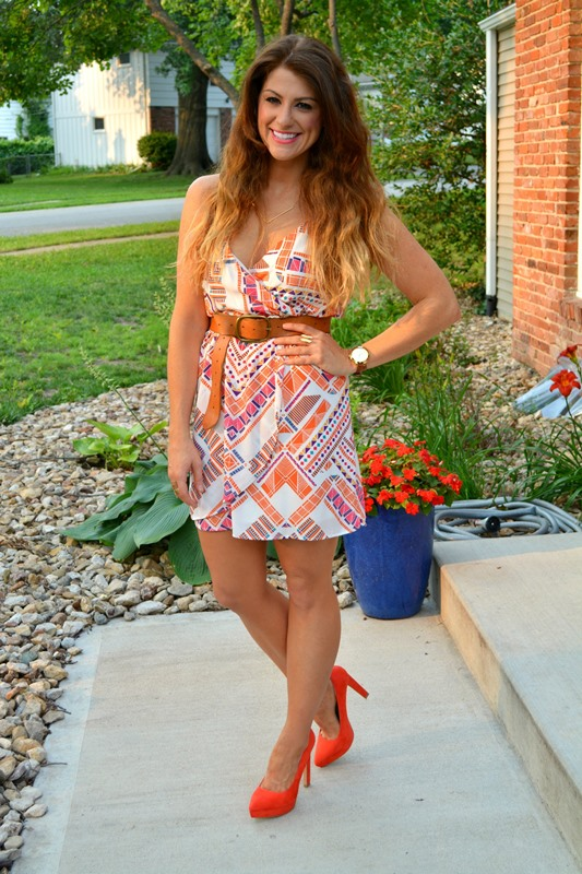 everly dress, orange zara pumps, gorjana necklace, ashley from lsr, michael kors wrap watch