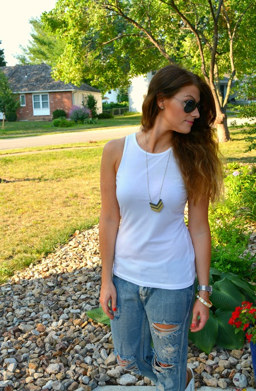white asos tank, one teaspoon awesome baggies, madewell arrowstack necklace, ashley from lsr
