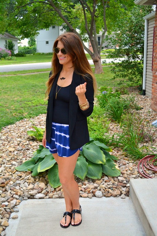 swell tie-dye shorts, black blazer, yummie carolyn tank, bauble bar signature necklace, ashley from lsr, illesteva sunglasses, rebecca minkoff petra sandals