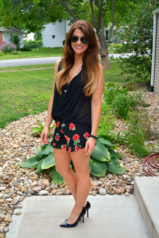 ashley from lsr, swell rose shorts, black blouse, patent pumps