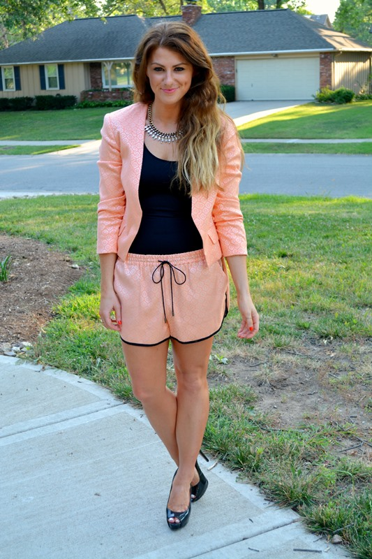 coral shorts suit, nine west pumps, ashley from lsr