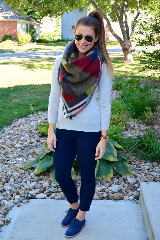 jcrew sweater, jcrew minnie,  tommy hilfiger brouges, zara blanket scarf, ashley from lsr
