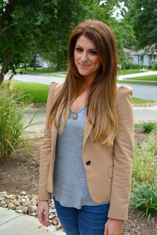 tan zara blazer, gray tee, ashley from lsr