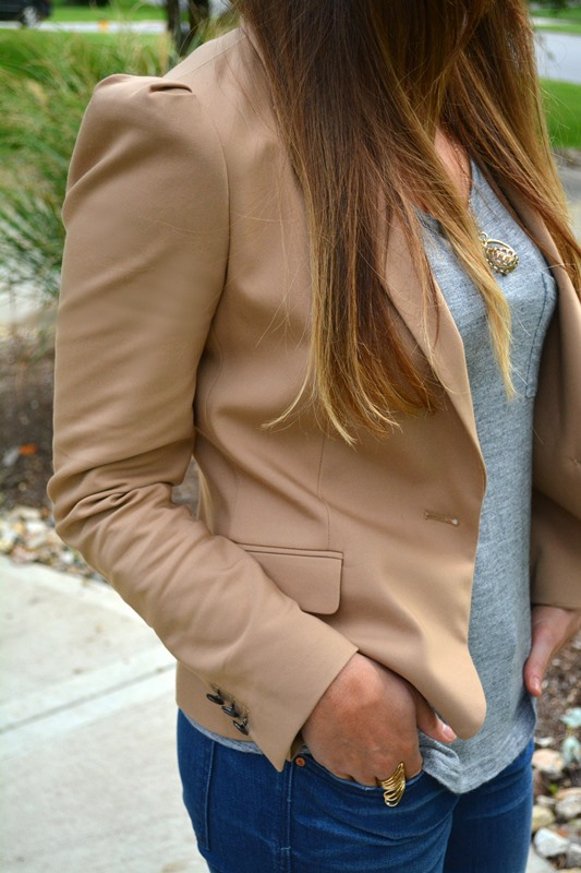 tan zara blazer, gray tee, gap jeans, ashley from lsr