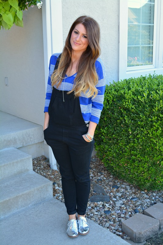 black overalls, striped blue sweater, ashley from lsr, silver oxfords