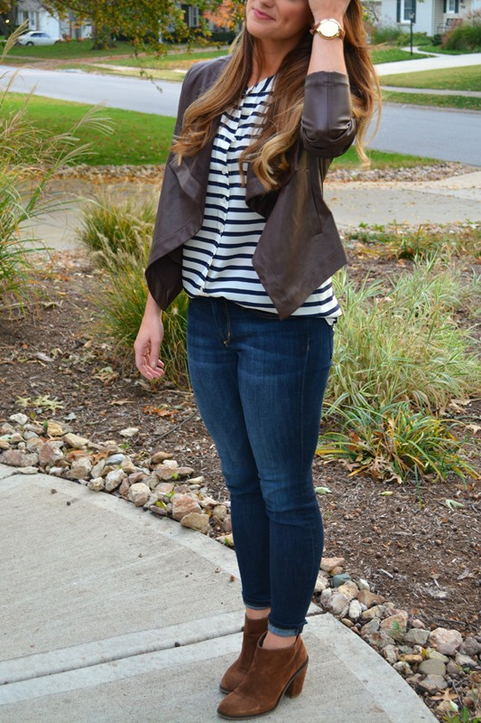 bb dakota leather jacket, joe's skinny jeans, asos audio booties, jcrew striped blouse, ashley from lsr