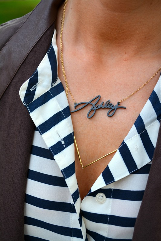 baublebar signature necklace, gorjana greer necklace, bb dakota leather jacket, jcrew striped blouse, ashley from lsr