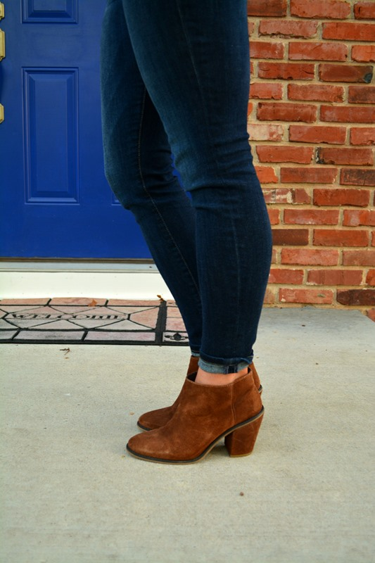 joe's skinny jeans, asos audio booties, ashley from lsr