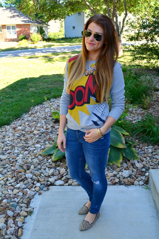 boom sweatshirt, zara ripped skinny jeans, adrienne vittadini flats, bauble bar necklace, ashley from lsr