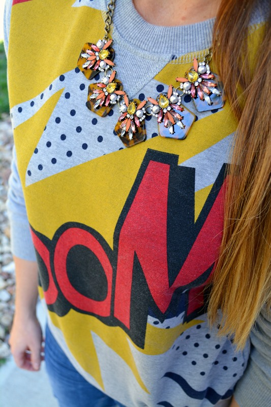 boom sweatshirt, ashley from lsr, bauble bar necklace