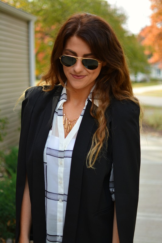 blazer cape, ashley from lsr, express plaid portofino shirt, bauble bar tassel necklace