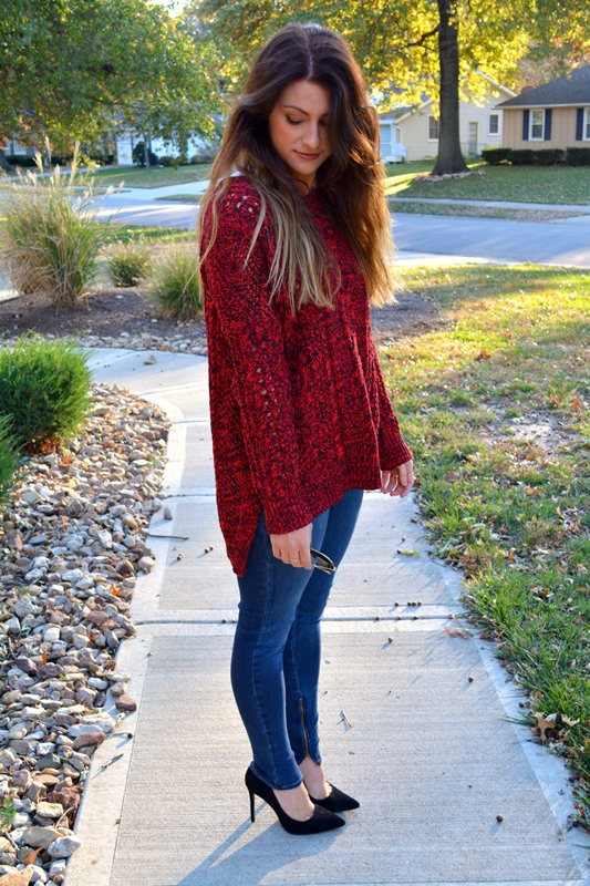 red express sweater, genetic skinny jeans, topshop pumps, ashley from lsr