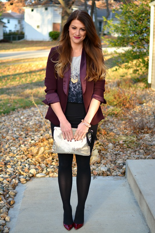 ashley from lsr, lanston dress, ombre pumps, burgundy blazer, clare v clutch