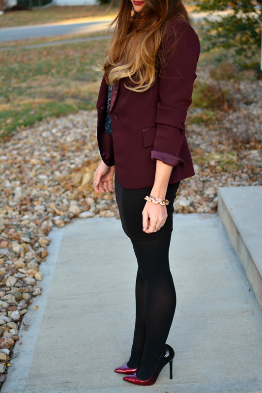 ashley from lsr, lanston dress, ombre pumps, burgundy blazer
