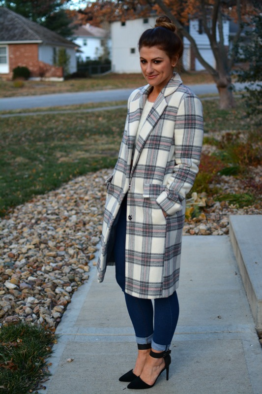 ashley from lsr, asos plaid coat, black ankle pumps
