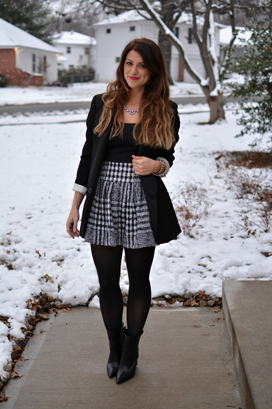 ashley from lsr, joa skirt, zara boots, isabel marant for h&m blazer, urban gem necklace
