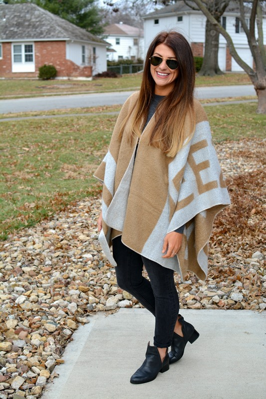 ashley from lsr, zara freezing poncho, madewell denim, jeffrey cambell oriley boots