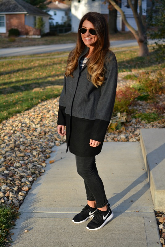 ashley from lsr, vince camuto car coat, nike roshe runs, madewell denim
