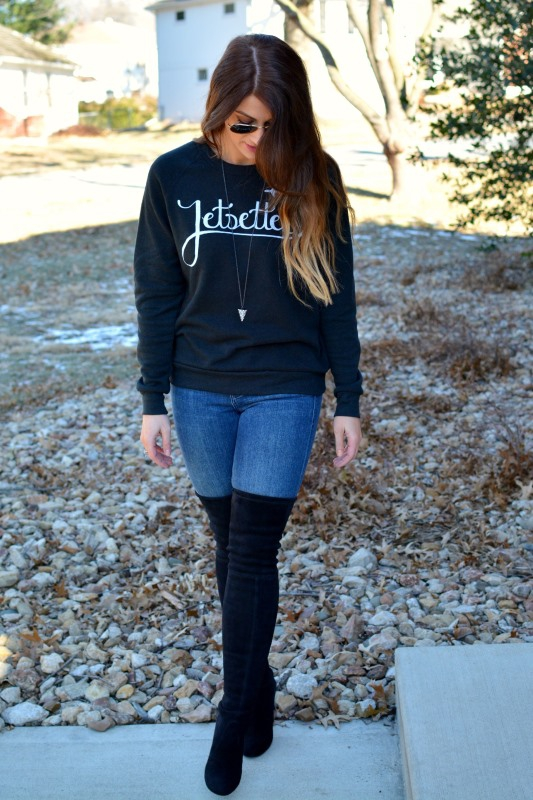ashley from lsr, stuart weitzman highland boots, ily couture jetsetter sweatshirt