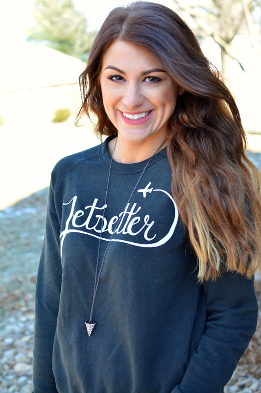 ashley from lsr, ily couture jetsetter sweatshirt