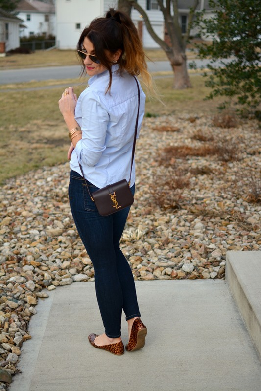 ashley from lsr, blue button-up, ysl small universite bag, joe's jeans, jcrew tortoiseshell flats