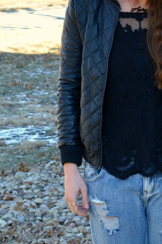 ashley from lsr, sheinside black lace top, quilted faux leather jacket