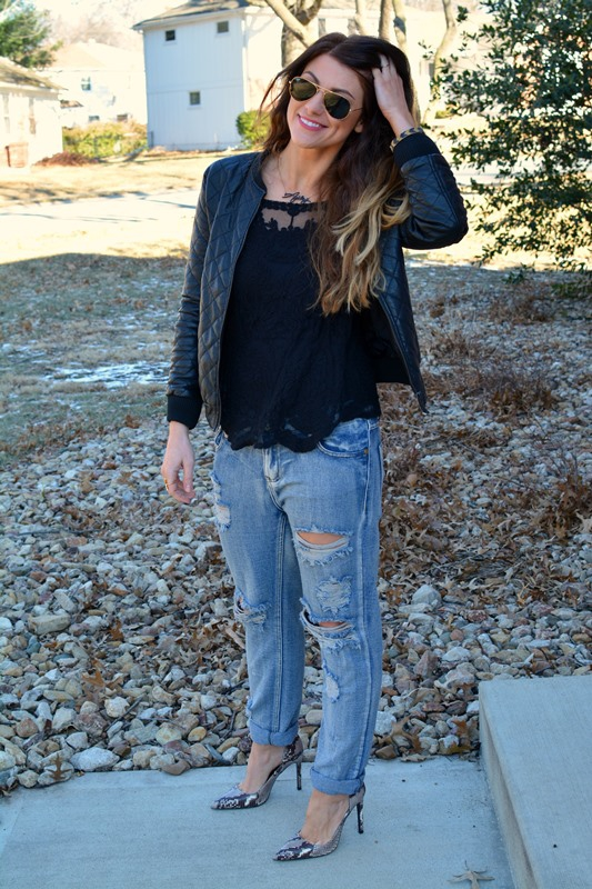 ashley from lsr, sheinside black lace top, quilted faux leather jacket, one teaspoon awesome baggies, zara pumps