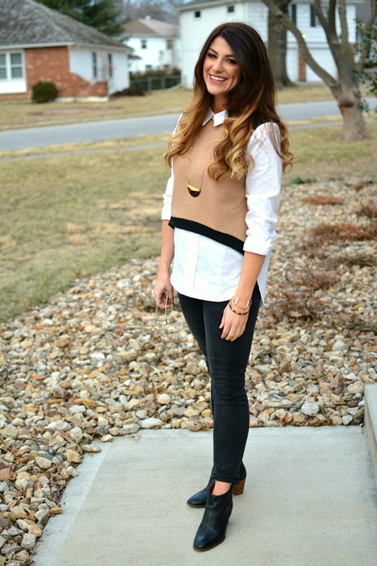 ashley from lsr, camel and black endless rose sweater vest blouse, madewell jeans and boots