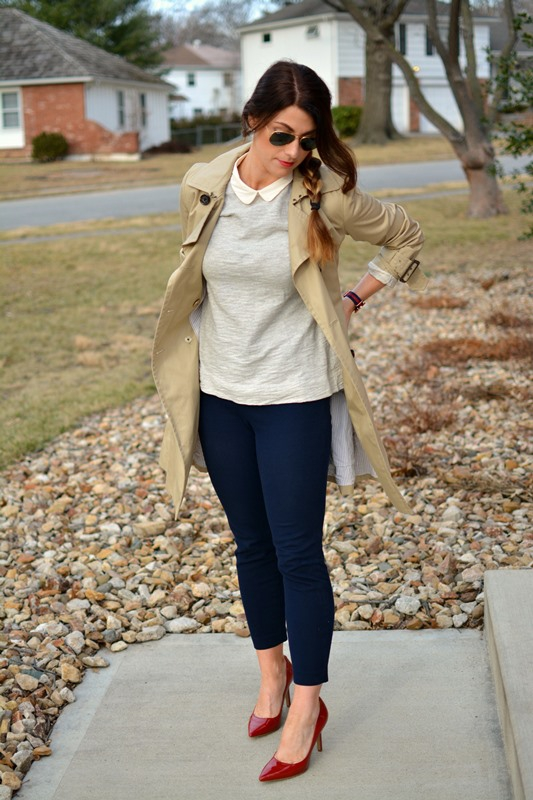ashley from lsr, trench coat, jcrew minnie pant, ninewest martina pumps