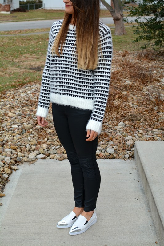 ashley from lsr, eyelash sweater, madewell coated jeans, white asos flatforms