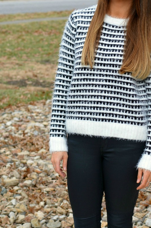 ashley from lsr, eyelash sweater, madewell coated jeans