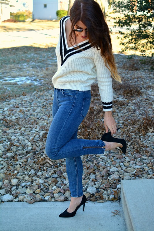 ashley from lsr, varsity sweater, madewell denim, black topshop pumps