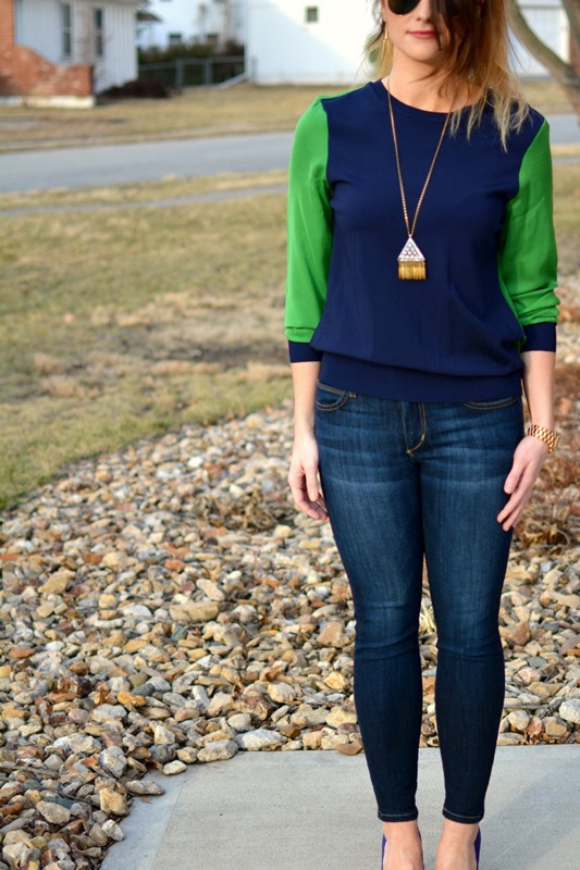 ashley from lsr, phillip lim for target color block blouse, joe's jeans