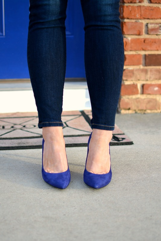 ashley from lsr, blue suede pumps