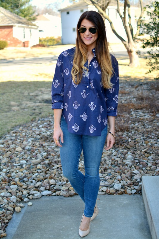 ashley from lsr, madewell flowerstamp popover tunic, gap resolution skinny jeans, nude pumps
