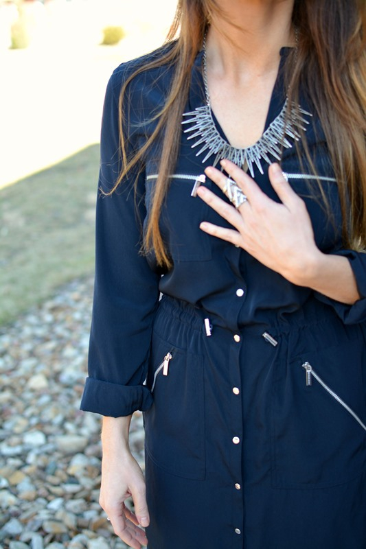 ashley from lsr, michael michael kors silky shirtdress, spike statement necklace, cage ring