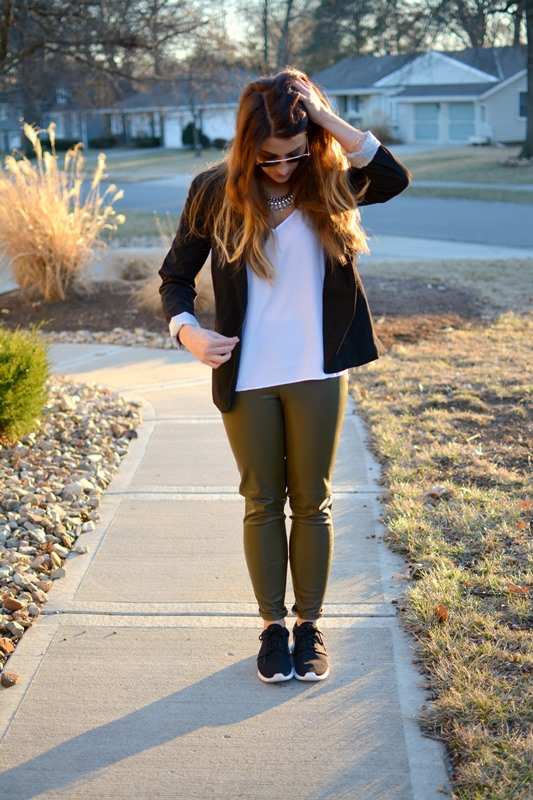 ashley from lsr, zara olive green leather leggings, roshe runs, black blazer
