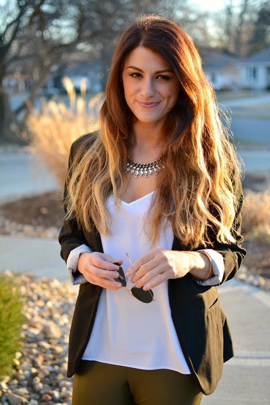 ashley from lsr, zara olive green leather leggings, black blazer, baublebar collar necklace