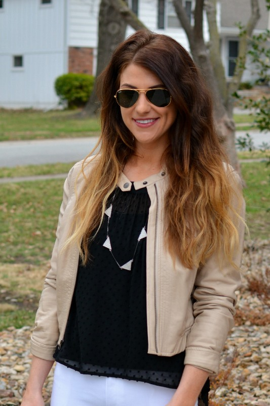 ashley from lsr, beige leather jacket