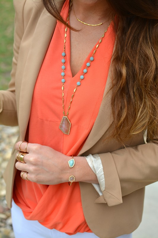ashley from lsr, golden tote coral wrap blouse, sand and sky cuff and necklace from chloe + isabel